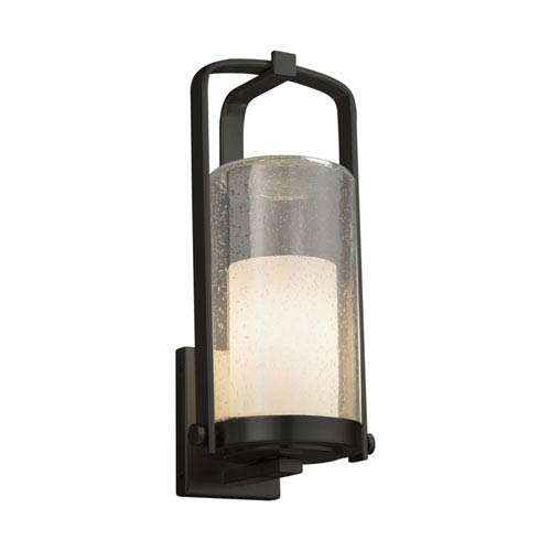 Fusion - Atlantic Matte Black 17-Inch One-Light Outdoor Wall Sconce with Opal Artisan Glass
