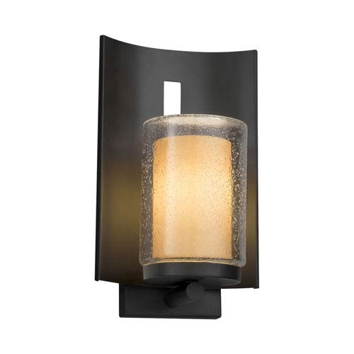 Justice Design Group Fusion - Embark Matte Black LED Outdoor Wall Sconce with Almond Artisan Glass