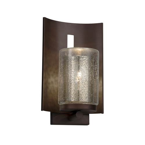 Justice Design Group Fusion - Embark Dark Bronze LED Outdoor Wall Sconce with Mercury Artisan Glass