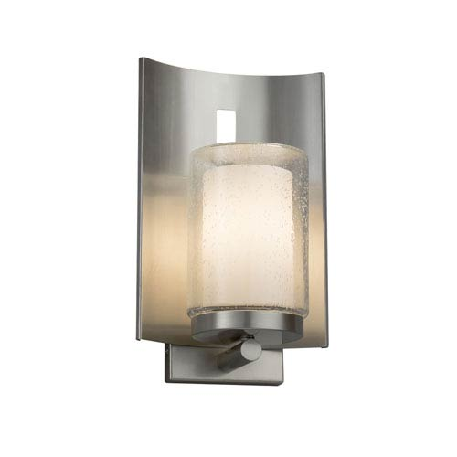 Justice Design Group Fusion - Embark Brushed Nickel LED Outdoor Wall Sconce with Opal Artisan Glass