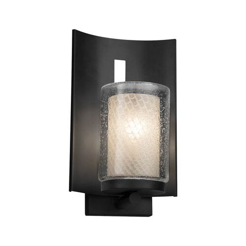 Justice Design Group Fusion - Embark Matte Black LED Outdoor Wall Sconce with Weave Artisan Glass