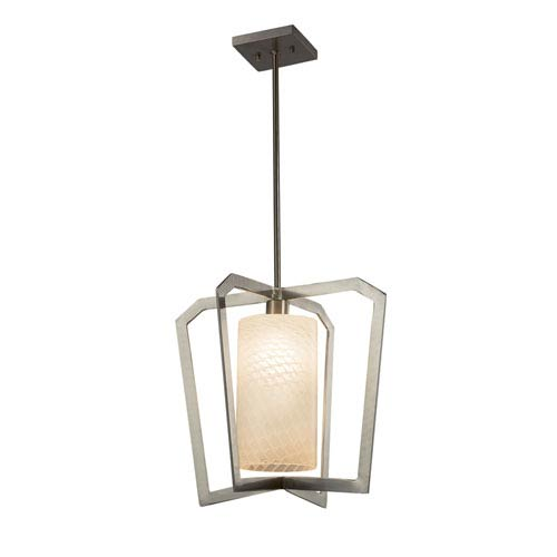 Justice Design Group Fusion - Aria Brushed Nickel One-Light Pendant with Weave Artisan Glass