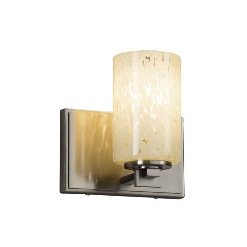 Justice Design Group Fusion - Era Brushed Nickel LED Wall Sconce with Droplet Artisan Glass