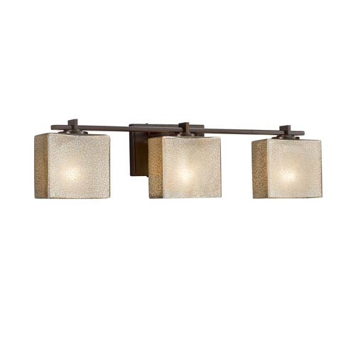 Fusion - Era Dark Bronze Three-Light LED Bath Vanity with Mercury Artisan Glass