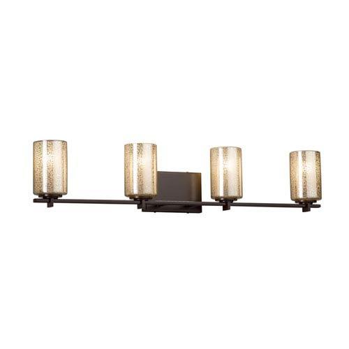 Fusion - Era Dark Bronze Four-Light LED Bath Vanity with Mercury Artisan Glass