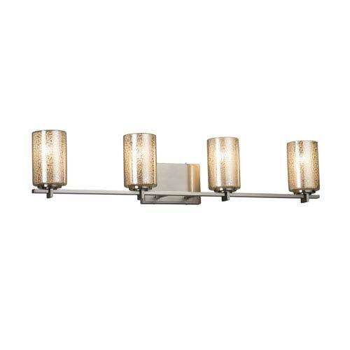 Fusion - Era Brushed Nickel Four-Light LED Bath Vanity with Mercury Artisan Glass