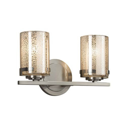 Justice Design Group Fusion - Atlas Brushed Nickel Two-Light LED Bath Vanity with Mercury Artisan Glass