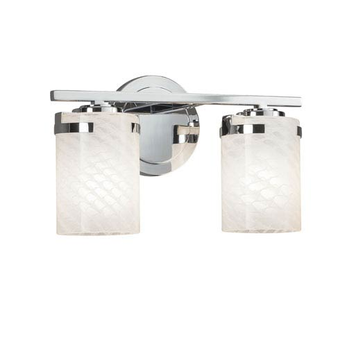 Justice Design Group Fusion - Atlas Polished Chrome Two-Light LED Bath Vanity with Weave Artisan Glass