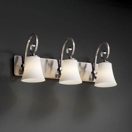 Fusion Victoria Three-Light Brushed Nickel Bath Fixture