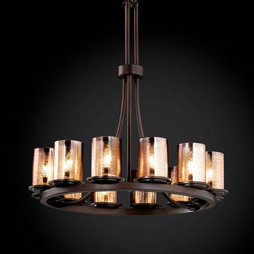 Justice Design Group Fusion Dakota 12-Light Dark Bronze Tall Ring Chandelier