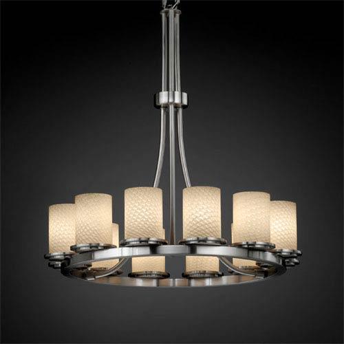 Justice Design Group Fusion Dakota 12-Light Brushed Nickel Tall Ring Chandelier