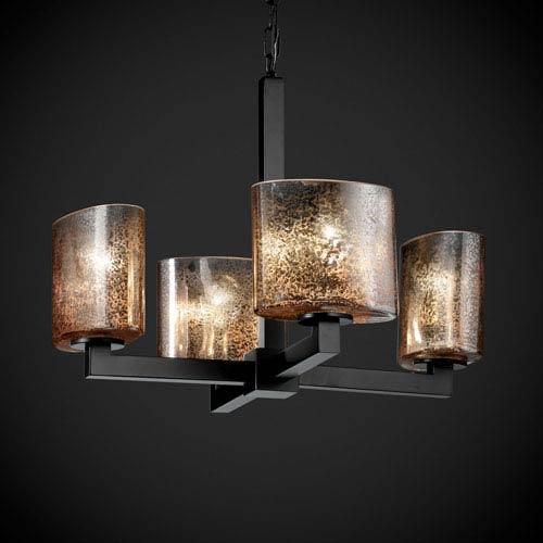 Justice Design Group Fusion Modular Four-Light Matte Black Chandelier