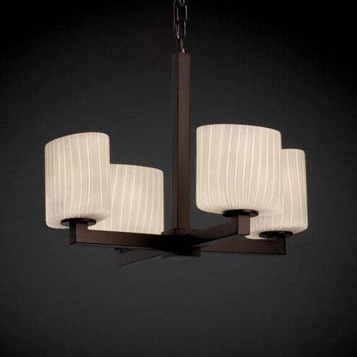 Justice Design Group Fusion Modular Four-Light Dark Bronze Chandelier