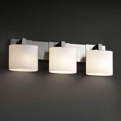 Fusion Modular Three-Light Brushed Nickel Bath Fixture