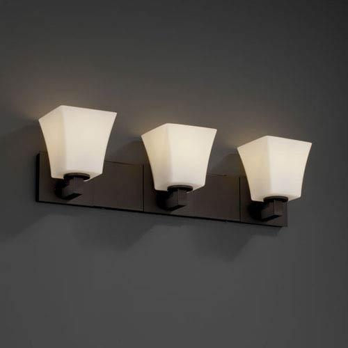 Justice Design Group Fusion Modular Three-Light Dark Bronze Bath Fixture