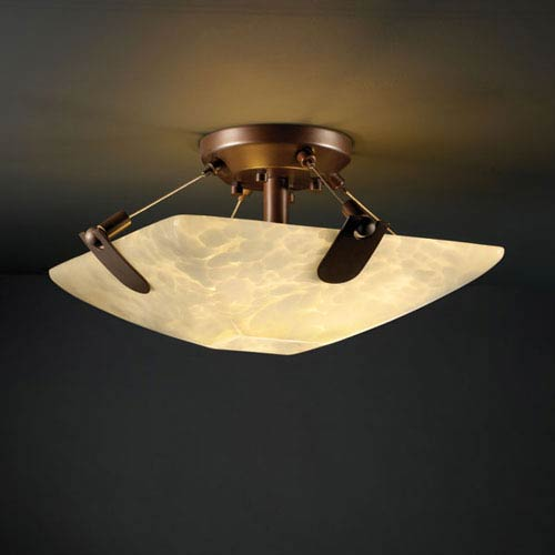Justice Design Group Fusion U-Clips 14-Inch Two-Light Dark Bronze Semi-Flush Bowl With U-Clips