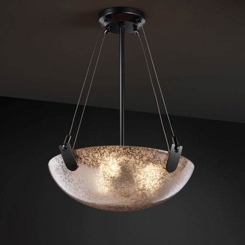 Justice Design Group Fusion U-Clips 18-Inch Three-Light Matte Black Pendant Bowl With U-Clips