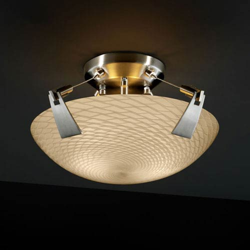Justice Design Group Fusion Tapered Clips 14-Inch Two-Light Brushed Nickel Semi-Flush Bowl With Tapered Clips
