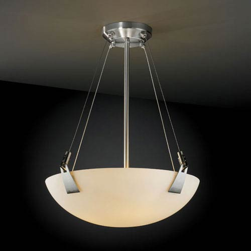 Fusion Tapered Clips 18-Inch Three-Light Brushed Nickel Pendant Bowl With Tapered Clips
