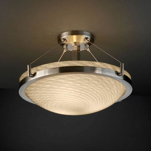 Fusion Ring 18-Inch Three-Light Brushed Nickel Round Semi-Flush Bowl With Ring
