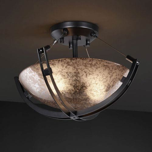 Fusion Crossbar CrossbarTwo-Light Matte Black Semi-Flush Bowl With Crossbar