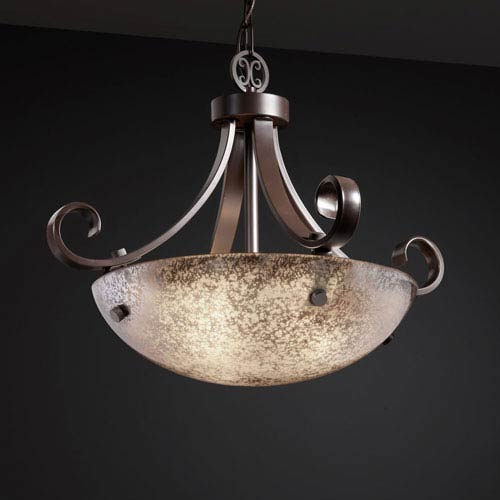 Justice Design Group Fusion Scrolls with Finials 18-Inch Three-Light Dark Bronze Pendant Bowl Scrolls With Finials