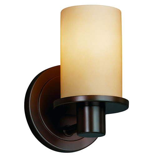Justice Design Group Fusion Rondo Dark Bronze One-Light Flat Rim Cylindrical Wall Sconce with Almond Glass