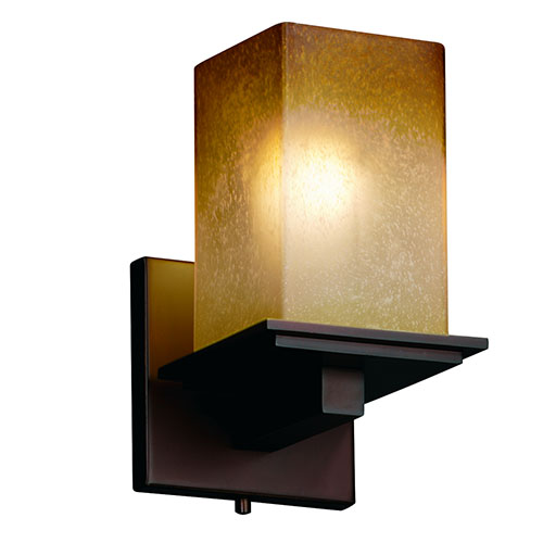 Fusion Montana Dark Bronze One-Light Flat Rim Square Wall Sconce with Caramel Glass