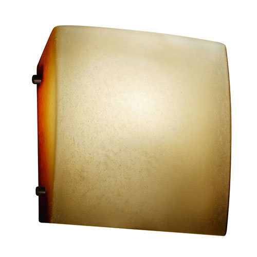 Fusion Dark Bronze One-Light Square Finial Wall Sconce with Caramel Glass