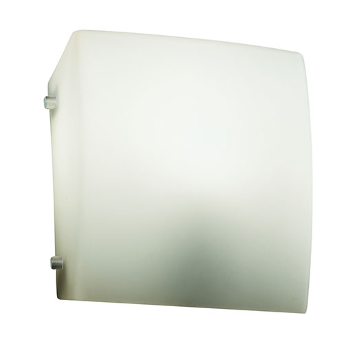 Justice Design Group Fusion Brushed Nickel One-Light Square Finial Wall Sconce with Opal Glass