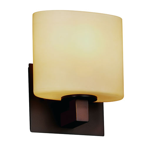 Justice Design Group Fusion Modular Dark Bronze One-Light Wall Sconce with Almond Glass