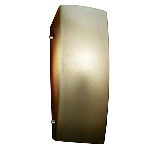Justice Design Group Fusion Brushed Nickel One-Light Rectangular Finial Wall Sconce with Caramel Glass