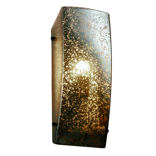 Justice Design Group Fusion Dark Bronze One-Light Rectangular Finial Wall Sconce with Mercury Glass