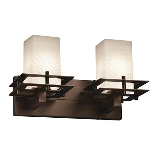 Justice Design Group Fusion Dark Bronze Two-Light Bath Bar