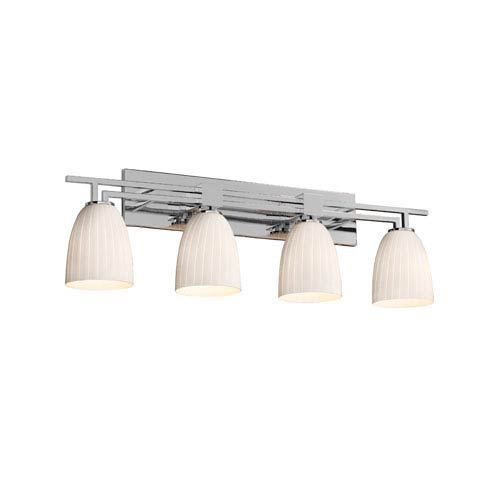 Justice Design Group Fusion Polished Chrome Four-Light Bath Bar with Ribbon Glass
