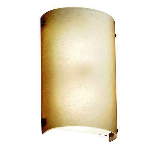 Justice Design Group Fusion Dark Bronze Two-Light Cylindrical Finial Wall Sconce with Caramel Glass