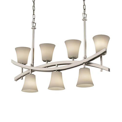 Justice Design Group Fusion Brushed Nickel Seven-Light Round Flared Crossbar Chandelier with Opal Glass