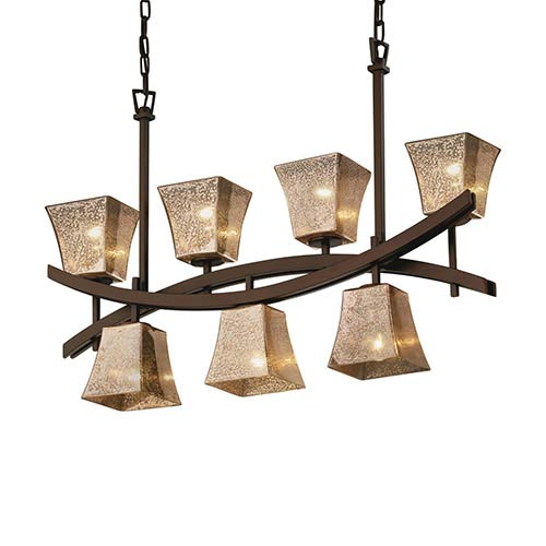 Justice Design Group Fusion Dark Bronze Seven-Light Square Flared Crossbar Chandelier with Mercury Glass