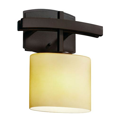 Justice Design Group Fusion Archway Dark Bronze One-Light Oval Wall Sconce with Almond Glass