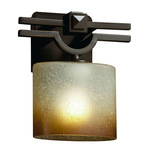 Justice Design Group Fusion Argyle Dark Bronze One-Light Oval Wall Sconce with Caramel Glass