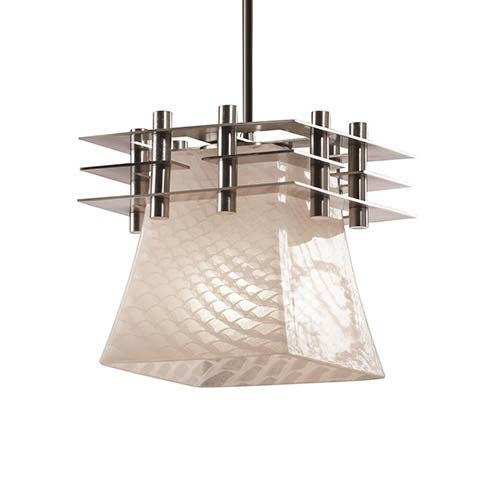 Fusion Brushed Nickel One-Light Square Flared Mini Pendant with Three Flat Bars and Weave Glass