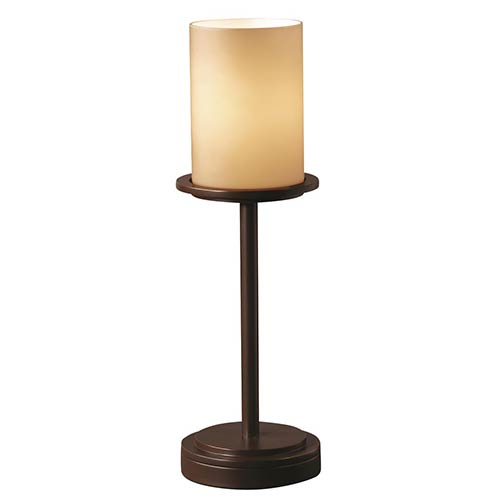 Fusion Dark Bronze One-Light Tall Flat Rim Cylinder Table Lamp with Almond Glass