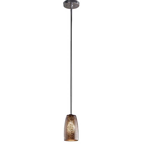 Fusion Polished Chrome One-Light Tall Tapered Cylinder Mini Pendant Rigid Stem with Mercury Glass