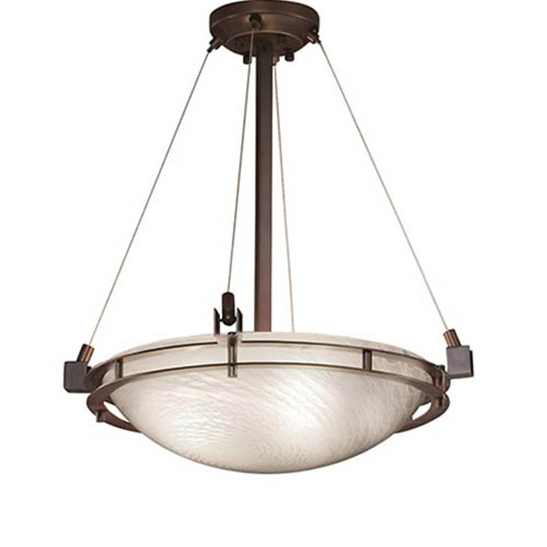 Justice Design Group Fusion Dark Bronze Three-Light 18-Inch Round Bowl Pendant with Weave Glass