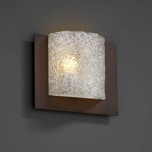 Justice Design Group Veneto Luce Framed Square Three-Sided Fluorescent Dark Bronze Wall Sconce