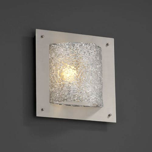 Veneto Luce Framed Square Four-Sided Fluorescent Brushed Nickel Wall Sconce