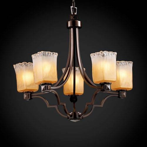 Justice Design Group Veneto Luce Argyle Five-Light Dark Bronze Chandelier