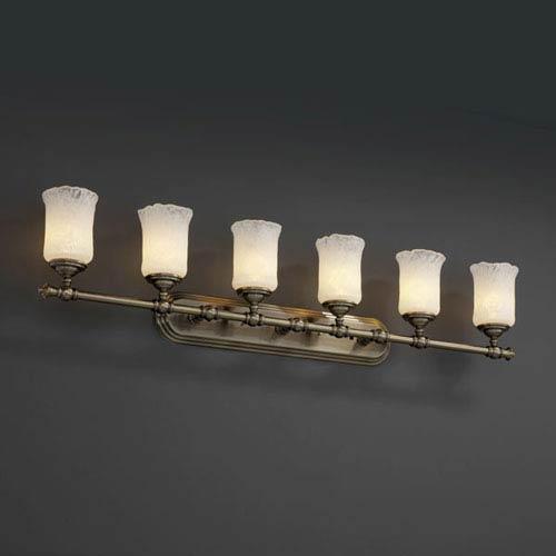 Justice Design Group Veneto Luce Tradition Six-Light Antique Brass Bath Fixture