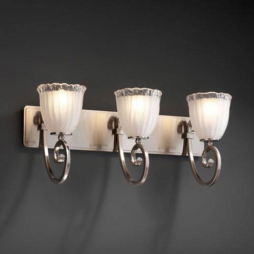Justice Design Group Veneto Luce Victoria Three-Light Brushed Nickel Bath Fixture