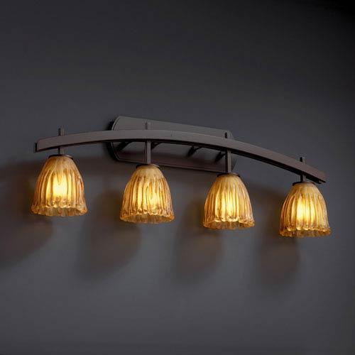 Justice Design Group Veneto Luce Archway Four-Light Dark Bronze Bath Fixture